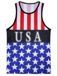 3D Stripes and Stars Print Openwork Tank Top - COLORMIX