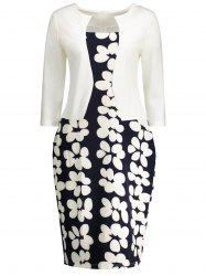Notched Floral Print Sheath Dress