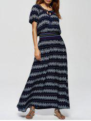 Ornate Print High Waist Casual Maxi Dress - BLUE