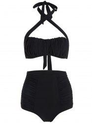 High Waisted Halter Ruched Bikini