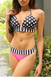 Sexy Halter Polka Dot Spliced Women's Bikini Set - WHITE AND BLACK