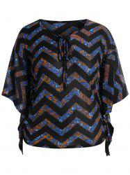 Plus Size Butterfly Sleeve Chervon Baggy Top