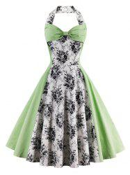 Vintage Halter Floral Pin Up A Line Dress - LIGHT GREEN 2XL