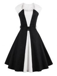 Two Tone Vintage Pin Up Dress - BLACK XL