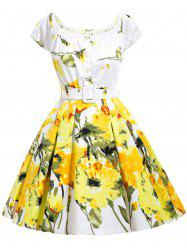 Belted Floral Print High Waist Flare Dress
