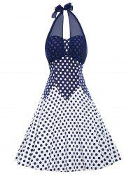 Vintage Polka Dot Halter Flare Dress