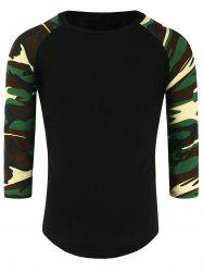 Crew Neck Camouflage Panel Half Raglan Sleeve T-Shirt