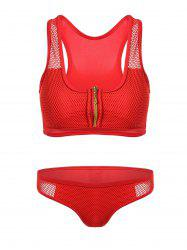 Zipper Mesh Insert Bikini Set