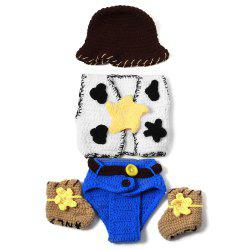 Set of Fashion Cowboy Style Knitting Props Clothes Hat Jacket Boot For Baby's Photography - COLORMIX