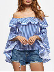 Off The Shoulder Striped Flounce Blouse - STRIP PATTERN M