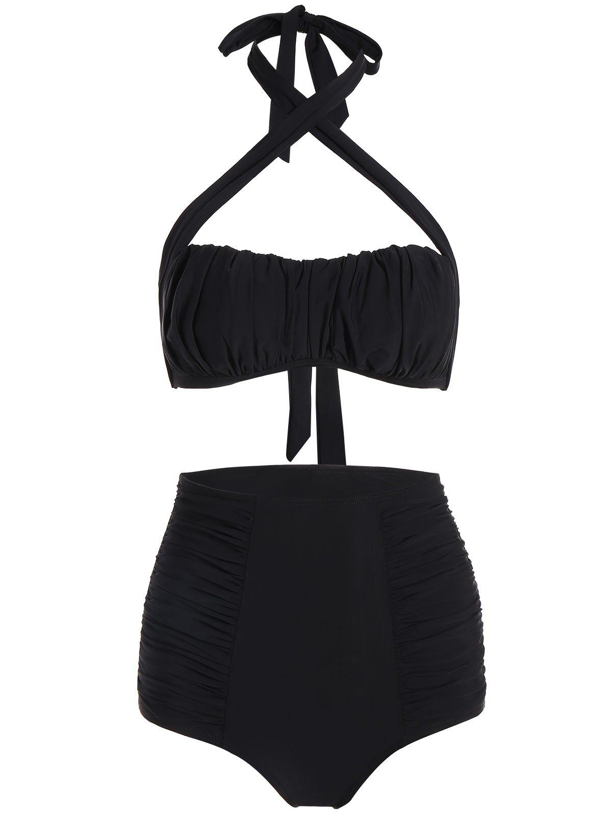 Chic High Waisted Halter Ruched Bikini