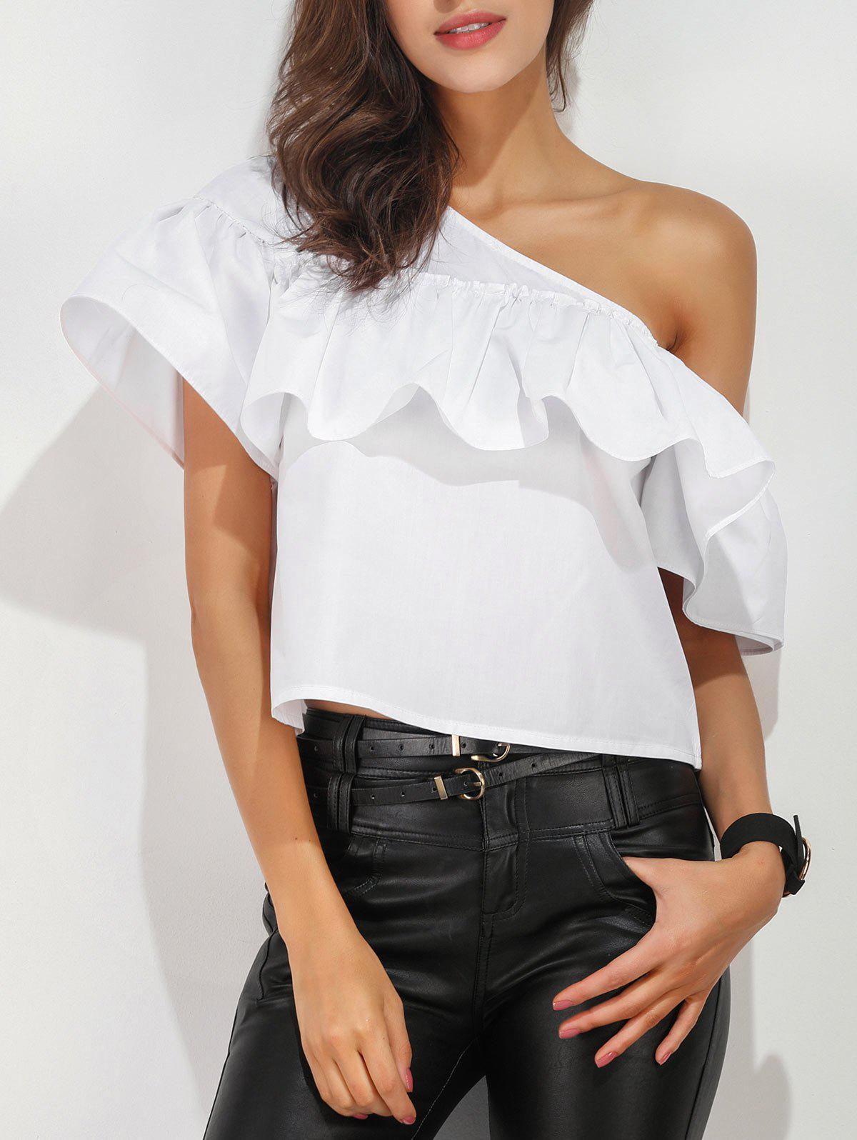 Online Ruffle Layer One Shoulder Blouse