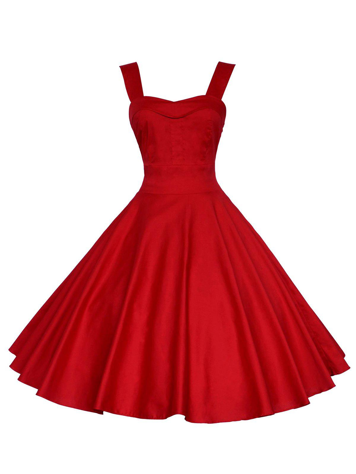 Backless Mini Party Vintage Cocktail Swing Skater DressWOMEN<br><br>Size: S; Color: RED; Style: Vintage; Material: Polyester; Silhouette: A-Line; Dresses Length: Mini; Neckline: Sweetheart Neck; Sleeve Length: Sleeveless; Pattern Type: Solid; With Belt: No; Season: Summer; Weight: 0.3500kg; Package Contents: 1 x Dress;