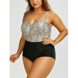 Plus Size Leopard One Piece Swimsuit - Black Leopard Print - 4xl