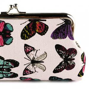 Kiss Lock Butterfly Print Clutch Bag -