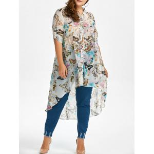 Plus Size High Low Butterfly Print Top - White - Xl