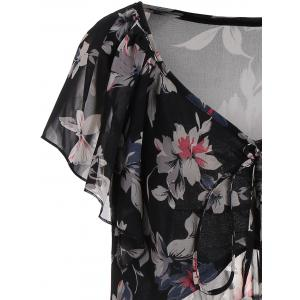 Chiffon Floral Plus Size Tunic Top - BLACK 2XL