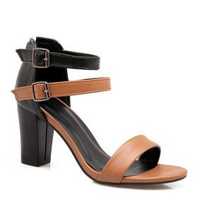 Double Buckle Strap Colour Block Sandals