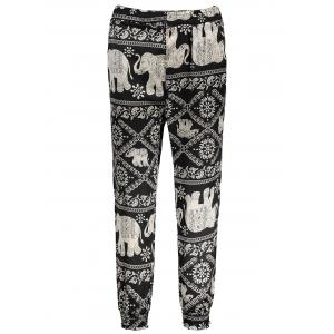 Elastic Waist Allover Print Harem Pants - Black - L