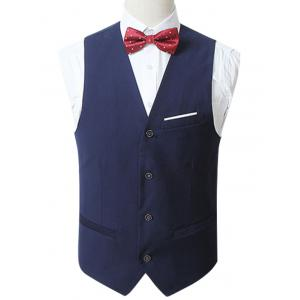 Slim Fit Button Up Formal Waistcoat - Blue - 6xl