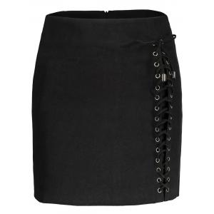 Faux Suede Lace Up Skirt - Black - Xl