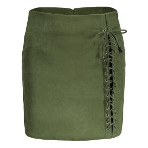 Faux Suede Lace Up Skirt - Green - 2xl