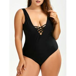 Plus Size Backless Swimwear - Black - 2xl