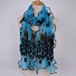 Fine Gauze Peacock Floral Embroidery Chiffon Scarf - Azure