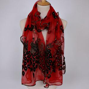 Fine Gauze Peacock Floral Embroidery Chiffon Scarf - Wine Red