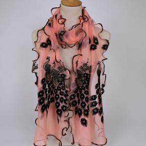 Fine Gauze Peacock Floral Embroidery Chiffon Scarf - Light Pink - 2xl