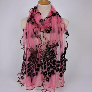Fine Gauze Peacock Floral Embroidery Chiffon Scarf - Pink - 2xl