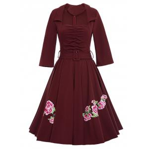 Belted Flower Patchwork Flare Dress