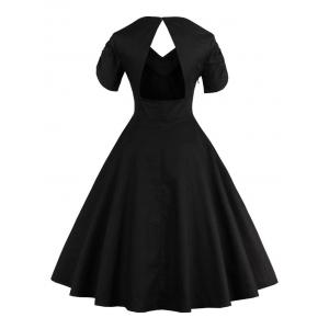 Vintage Cut Out Swing Pin Up Flare Dress - BLACK 2XL