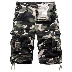 Multi Pockets Camo Cargo Shorts - Gray White Camouflage - 32