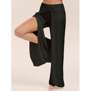High Slit Palazzo Pants - Black - Xl