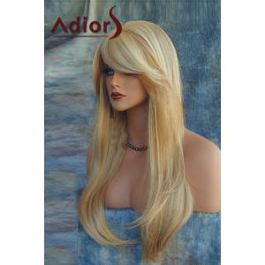 Trendy Extra Long Blonde Mixed Synthetic Straight Side Bang Capless Adiors Wig For Women -