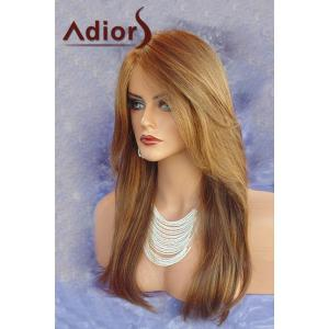 Charming Long Layered Straight Synthetic Brown Mixed Side Parting Adiors Wig For Women -