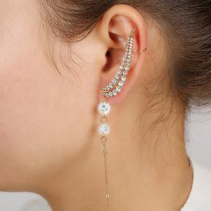 ONE PIECE Leaf Rhinestone Ear Cuff