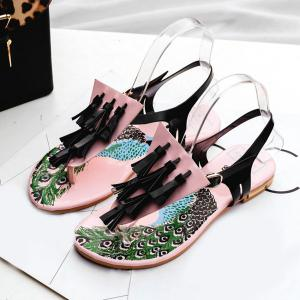 Patent Leather Tassels Sandals -