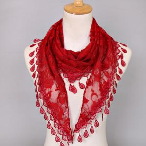 Waterdrop Embroidery Tassel Pendant Lace Triangle Rose Scarf