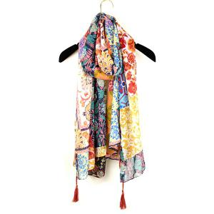 Ethnic Floral Patchwork Print Tassel Pendant Shawl Scarf - Orange Yellow - S