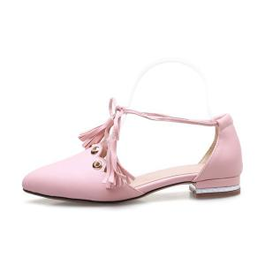 Eyelets Tassels Lace Up Ballet Flats - PINK 38