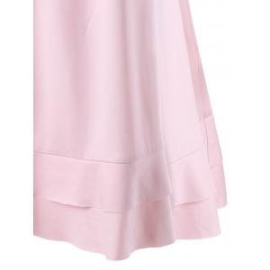 Flounced Panel Layered T-Shirt - SHALLOW PINK M