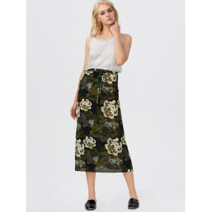 Floral Imprimer Tie Auto Jupe taille haute - Vert TAILLE MOYENNE