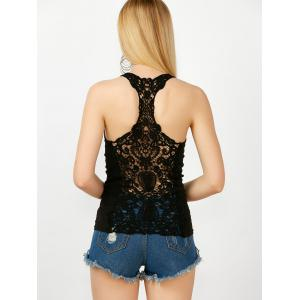 Sheer Lace Insert Racerback Tank Top - BLACK ONE SIZE