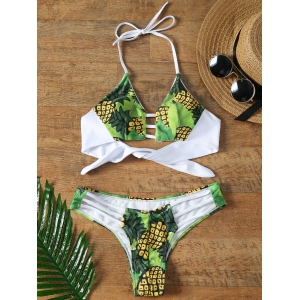 Halter Strappy Pineapple Bikini - Green - L