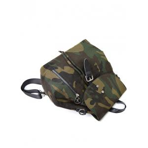 Camouflage Print Canvas Backpack - CAMOUFLAGE