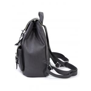 Zipper Front Pockets Buckles Backpack -