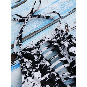 Splatter Paint Halter One Piece Swimsuit -