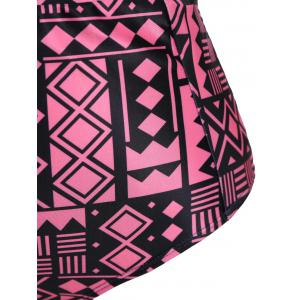 Plus Size Keyhole High Waisted Two Piece Swinsuit - BLACK/PINK 2XL